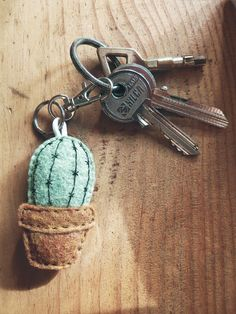 Cactus with felt embroidery. Small felt key chain in the form of . - Cactus with felt embroidery. Small key chain made of felt, in the form of … – - Felt Crafts, Diy And Crafts, Arts And Crafts, Felt Embroidery, Garden Embroidery, Cactus Embroidery, Craft Projects, Sewing Projects, Diy Schmuck