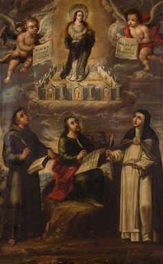 Alcalá Subastas  CRISTOBAL DE VILLALPANDO (Ciudad de México, c. 1649 - 1714)  La mística ciudad de Dios  Óleo sobre lienzo. 172 x 108 cms. Firmado.  Precio salida: 25.000 Euros. Precio remate: 140.000 Euros.