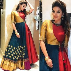 NEXT– 15 Beautiful and Trendy Lace Dresses of 2018 So, you have a lot of kurits and now you are bored of them. Mode Bollywood, Bollywood Fashion, Bollywood Style, Indian Attire, Indian Outfits, Folklore Mode, Printed Gowns, Indian Gowns Dresses, Ethnic Dress