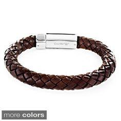 Stainless Steel Brown Leather Bracelet   Overstock.com Shopping - The Best Deals on Men's Bracelets