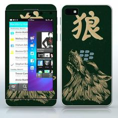 Japanese Symbol - Wolf  Wolf mask with a japan symbol  phone skin sticker for Cell Phones / Blackberry Z10   $7.95