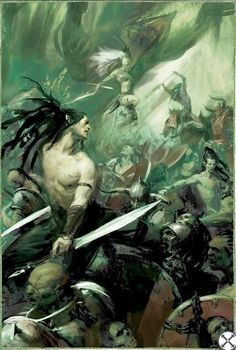 Wood Elven Wardancers face off against Chaos Marauders