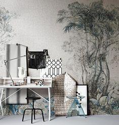 ausprobieren mit stark verdünnter Farbe selber malen  Tapeten in Schwarz, Weiß und Grau