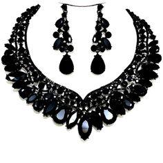 Jet Black Crystal Necklace Set Elegant Formal Wedding Jewelry