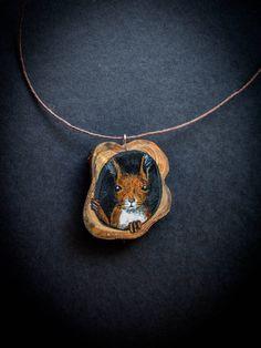 Hand painted squirrel art pendant by hoyhenenkevytta on Etsy