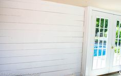 How to plank walls {pool house makeover progress} - Four Generations One Roof. Cottage looking when painted white--consider for accent wall in bedroom