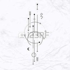 Vecteur g�om�trique symbole de l'alchimie avec la lune, des fl�ches, des points, des formes. R�sum� occulte et signes mystiques. Logo design lin�aire et spirituelle. Concept de l'imagination, de la magie, de la cr�ativit�, de la religion, l'astrologie photo