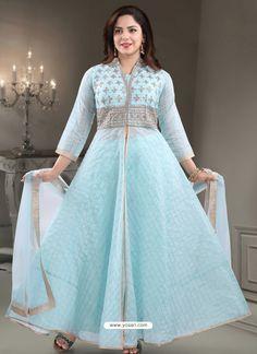 Sky Blue Georgette Readymade Heavy Designer Suit