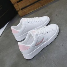 2018 Women Sneakers Sports Shoes Student White Shoes Ladies Breathable Running S… 2018 Women Sneakers Sports Shoes Student White Shoes Ladies Breathable Running Shoes Women [. White Shoes For Girls, White Nike Shoes, Girls Shoes, Ladies Shoes, Girls Sneakers, Sneakers Fashion, Fashion Shoes, Sneakers Nike, Pretty Shoes