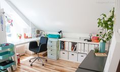 bright and airy attic workspace | www.1dogwoof.com