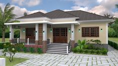 Sketchup Home Design Plan with 3 Bedrooms. This villa is modeling by SAM-ARCHITECT With One stories level. It's has 3 bedrooms. Model House Plan, My House Plans, Small House Plans, Modern Bungalow House Design, Simple House Design, Style At Home, Three Bedroom House Plan, One Storey House, Home Design Plans