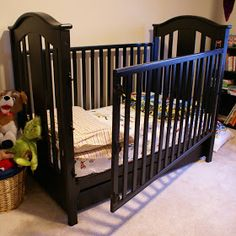 Making our Traditional Crib Accessible Teen Bedroom, Home Bedroom, Traditional Cribs, Couches, Rock A Bye Baby, Baby Zimmer, How Big Is Baby, Baby Needs, Baby Furniture