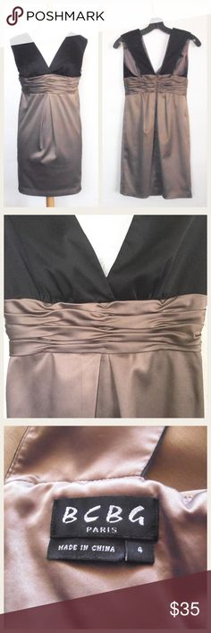 "🌴Host Pick🌴BCBG Paris Dress Measures about 32"" length, 14"" across the armpits and 13"" across the empire waist.  V-neck front and back, hidden back zipper, ruched empire waist, lined.  97% polyester 3% spandex.  In gently used pre-owned condition.  No trades. BCBG Dresses Mini"