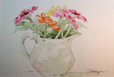 Watercolor Paintings by RoseAnn Hayes: Zinnias Watercolor Painting
