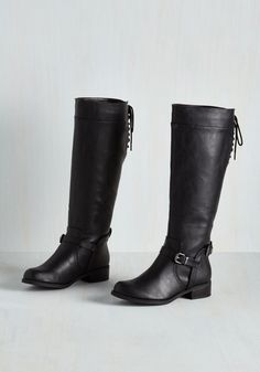 Steadfast Style Boot in Black. Your keen fashion sense can always spot unparalleled apparel - hence your wide-eyed grin upon glimpsing these dependable knee-high boots! #black #modcloth