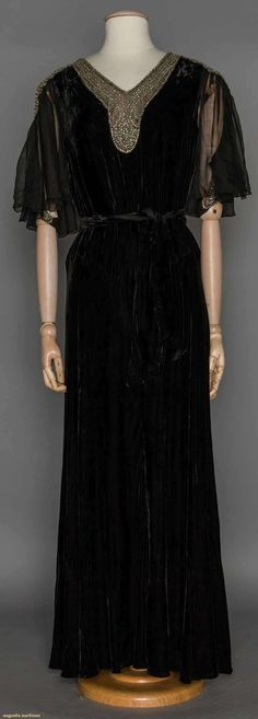 RHINESTONE TRIMMED EVENING GOWN, 1930's | Black silk velvet, chiffon flutter short sleeves, key-hole back, silver metallic w/ rhinestone neck & sleeve trim (front view)