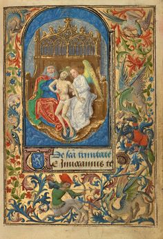 The Trinity; Lieven van Lathem (Flemish, about 1430 - 1493); Antwerp (illuminated), Belgium; 1469; Tempera colors, gold leaf, gold paint, silver paint, and ink on parchment; Leaf: 12.4 x 9.2 cm (4 7/8 x 3 5/8 in.); Ms. 37, fol. 14
