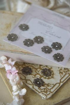 Delicate Metal Flower Finding for craft scrapbooking card making mixed media art , jewelry,  Jean D Arc Treasures with Charm collection by lamoneeboutique on Etsy