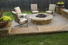 This fire pit as well as the edge of the patio is under-lit, giving a warm and inviting ambience to this fire pit area. Red Valley Landscape & Construction developed this for a resident of Oklahoma City, OK.