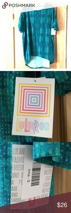 NWT LuLaRoe Irma legging material size Small 💕 Brand new with tags attached. Lularoe Irma size Small. Please see the sizing chart. The Irma is made from super soft legging material used in Lularoe leggings. Colors are turquoise, green and light green spots . Incredibly soft and flattering. LuLaRoe Tops Tunics