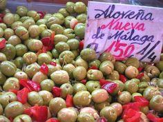 Olives at the Atarizanas central market in Malaga, Spain.