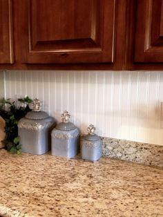 Dark Wood Kitchen Cabinets, Backsplash With Dark Cabinets, Beadboard Backsplash, Wooden Cabinets, Kitchen Countertops, Kitchen Backsplash, Backsplash Ideas, Granite Kitchen, White Cabinets