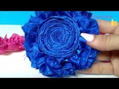 Flor shabby en tela de raso/ DIY accesorios para el cabello/ moños/ diademas/ cintillos - YouTube