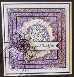 Hello all! It's triple stamping for today's giveaway card. I have done this technique so many times and it just never fails to make me say wow! I started with some light purple card and cut it int