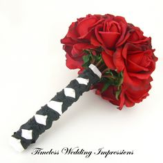 Red+Rose+Bridal+Bouquet+Black+White+Real+Touch+by+TimelessWedding,+$130.00