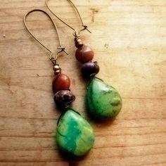 Sugar peas - Bohemian earthy chrysocolla, jasper and petrified wood earrings