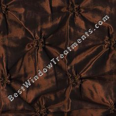 """Zenith in copper brown color: puckered fabric with pin tucks : faux taffeta silk fabric : 84"""", 96"""" and extra long 108"""" inch and 120"""" length: grommets or back-tabs and rod pocket, lined/interlining : scarf swag and fabric by the yard for custom window treatments"""
