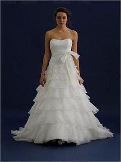 Fascinating Bow Belt Strapless Natural Waist Ruffles A-line Wedding Dress WD1917 www.tidebridaldresses.com $279.0000