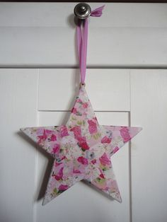 Hanging Star Decopatch Decoration - Pink - Folksy