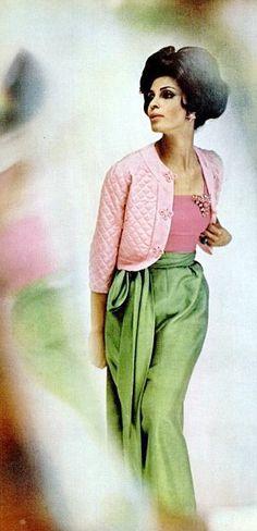 Liz Campbell in three-piece silk shantung by Robert Sloan, photo by Gordon Parks, 1962