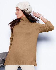 Button-Detail Cashmere T-Neck Sweater