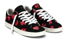 comme des garcons play for converse pro leather heart shoes