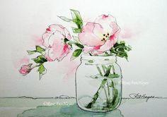 Watercolor Painting Pink Evening Primrose Print Wildflower Flower Floral Bouquet