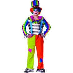 Liven up your Halloween, party, parade, circus and more with this detailed clown jumpsuit. Costume includes multi-colored jumpsuit, attached suspenders, and matching top hat.