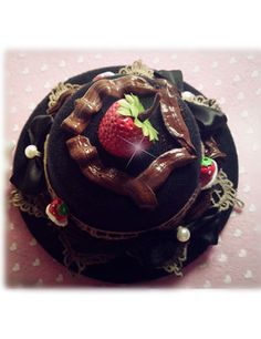 Sweet Strawberry Cake Lolita Headdress Black #lolita headress #sweet #strawberry #cake #beautiful