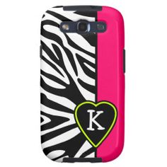 Pink with Zebra & Lime Green Heart Monogram Samsung Galaxy S3 Covers