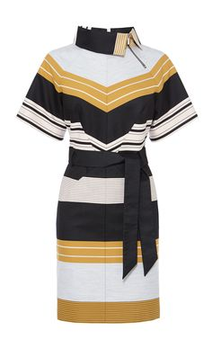 BELTED STRIPE DRESS | Luxury Women's dresses | Karen Millen - AW15 campaign - mustard yellow, navy, white