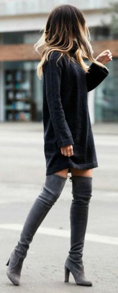 Pam Hetlinger, Editor of the Fashion, Beauty, Travel, and Lifestyle blog The Girl From Panama, styles a sweater dress with thigh high Stuart Weitzman boots and the ever classy chloe bag.