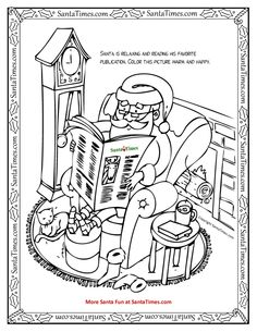 reading santa printable coloring page more fun holiday activities at wwwsanta t