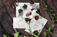 Printable Wedding Invite Gold and Marsala Wedding Invitation