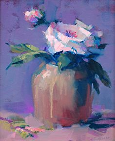 Pink Rose Oil on Canvas