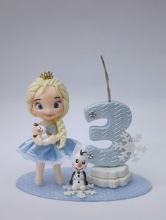 Mini topo Frozen no Frozen Birthday Party, Half Birthday Baby, Frozen Party, Birthday Diy, Birthday Party Themes, Number 3 Cakes, Number Cake Toppers, Fondant Toppers, Polymer Clay Cake
