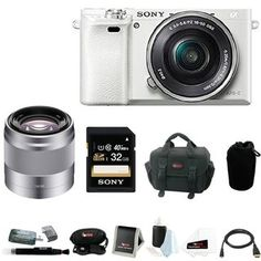 Sony Alpha a6000 24.3 Megapixel Mirrorless Digital Camera with Sony 50mm Lens and Sony 32GB SDHC Accessory Bundle (White) - Free Shipping Today - Overstock.com - 20492910 - Mobile