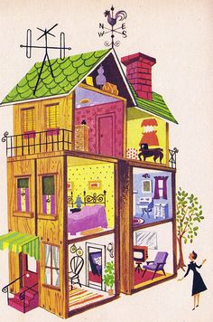 1960s illustration of dollhouse byJoanne Nigro | Source: Estelle and Ivy @ Flickr