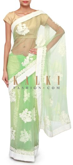 Buy Online from the link below. We ship worldwide (Free Shipping over US$100). Product SKU - 268532. Product Link - http://www.kalkifashion.com/green-saree-adorn-in-resham-and-kundan-embroidery-only-on-kalki.html