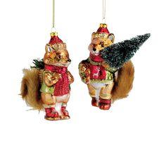 "The Jolly Christmas Shop - Kurt Adler 5"" Glass Fox with Fur Tail Christmas Ornament TD1467, $12.99 (http://www.thejollychristmasshop.com/kurt-adler-5-glass-fox-with-fur-tail-christmas-ornament-td1467/?page_context=category"